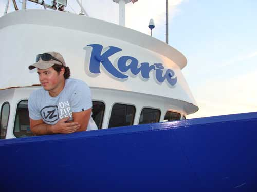 Joe Tapley on the Sardine fishing boat, Karie
