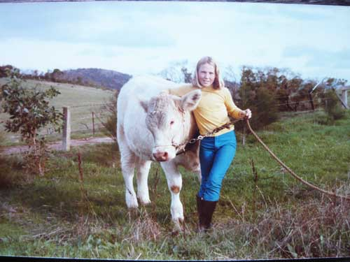 Tahna Jackson with Charolais Heifer