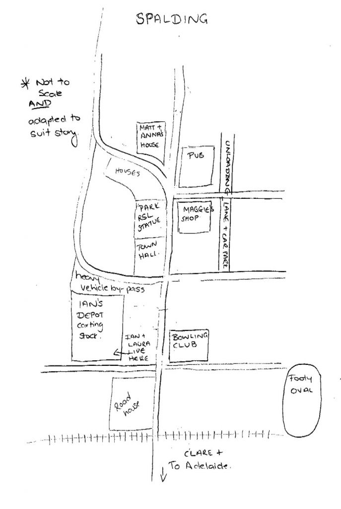Map of Spalding for Purple Roads by Fleur McDonald