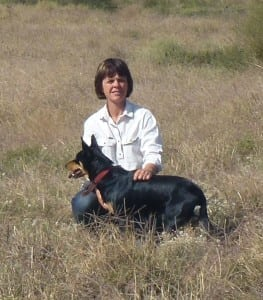 Jo Bear with her working dog Maisy in Loddon Vale, Victoria