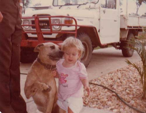 Buzz the dog and Kylie at 1 year old