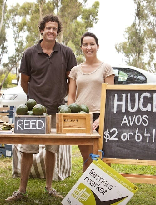 Tim and Katrina Myers selling their Barham Avacados at the local Farmers Market