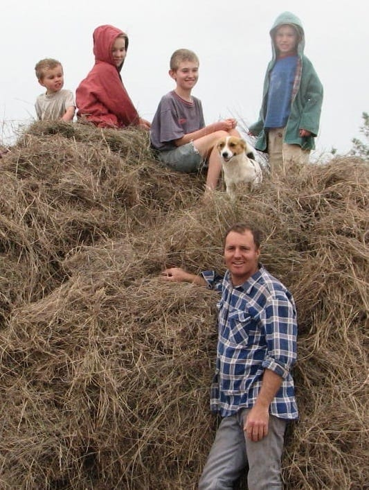 John Joseph with his children from Brigadoon Harvest