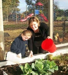 Natalie Gherardin with one of her students in the Agri/Enviro Centre