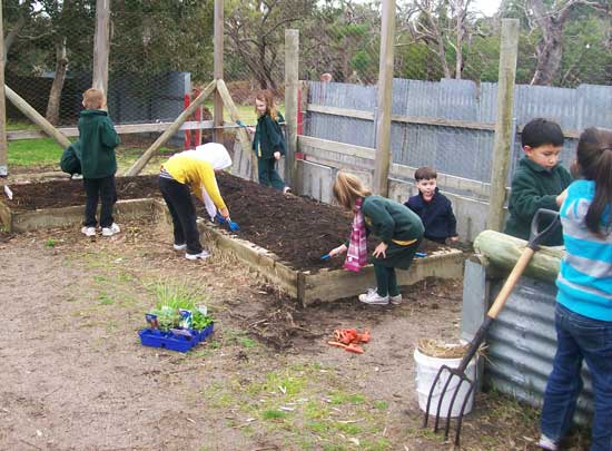 Children tend the garden in the Agri/Enviro Centre