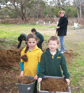 The Children putting compost on their garden