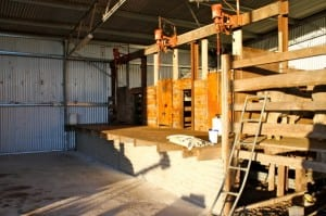 Empty shearing shed, silent and still, waiting for the action to begin!
