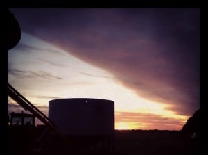 sunset over silos