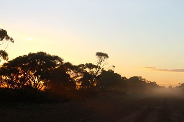 dust through the sunrise