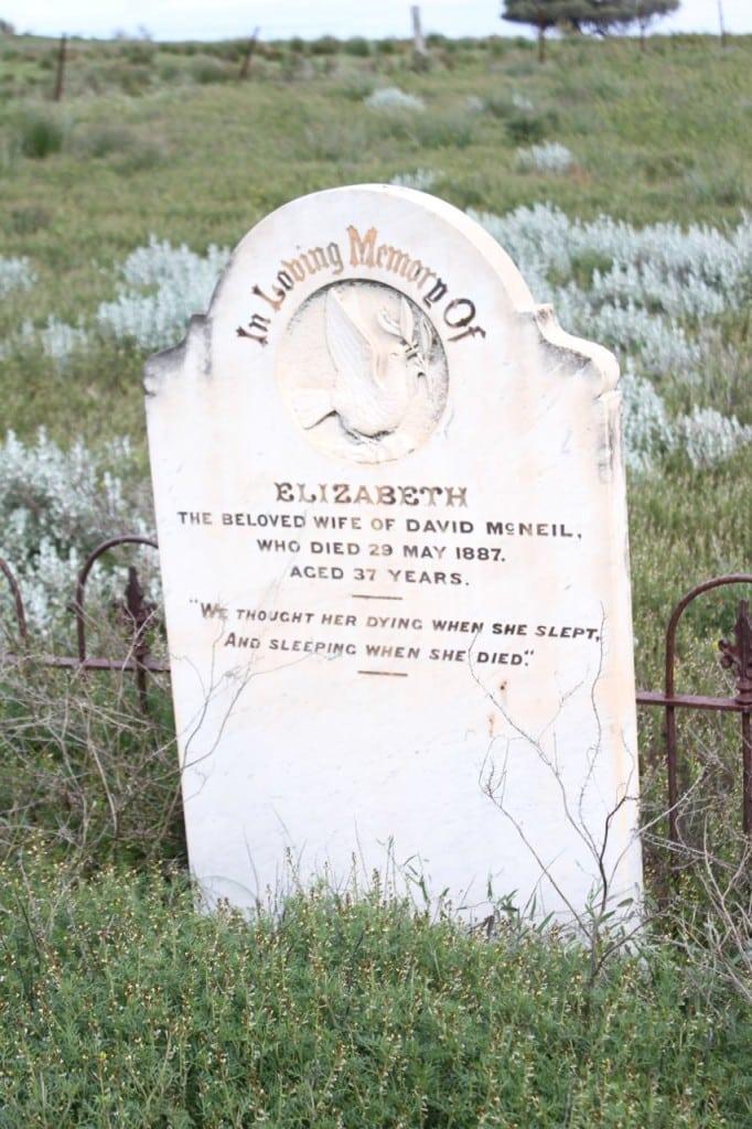 A lone headstone